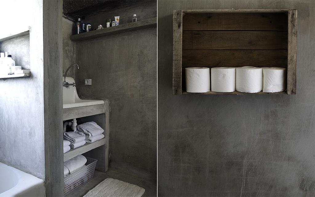 Cimento queimado inspira o da casa - Beton cire dans une salle de bain ...